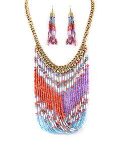 Look at this #zulilyfind! Gold & Purple Bead Twist Bib Necklace & Drop Earrings #zulilyfinds