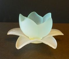 Vintage Glass Lotus Flower Bowl Candy Dish made in by Vintage42Day, $48.00