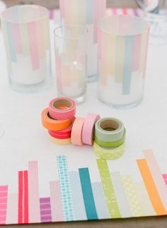 Wedding Invitations: Colored tap embellishments for wedding decor #tapes #rainbow #DIY