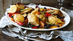Nigella Lawson's Italian roast chicken with peppers and olives [click through to watch the recipe VIDEO] #nigella