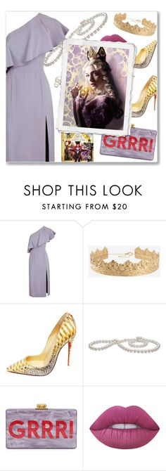 """""""White Queen"""" by nastenkakot ❤ liked on Polyvore featuring Topshop, Christian Louboutin, Edie Parker, Lime Crime, Allurez, contestentry and DisneyAlice"""