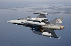 Saab JAS 39 Gripen NG shown carrying drop-tanks, IRIS-T, Meteor and Pathway.
