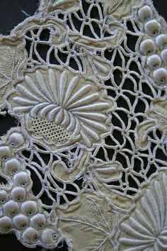 Vintage cut-work, stump-work and pulled-thread work makes for wonderful lacy project.