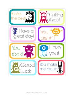 Printable Monster Lunch notes