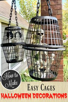 Diy halloween decorations 282178732890328557 - Create a spooky scene by making easy cages for your skeletons! Hang them from the porch or out in the yard. They are scary Halloween decorations that are easy on the budget. Source by craftklatch Halloween Porch Decorations, Halloween Party Decor, Halloween Costumes, Halloween Skeletons, Dollar Tree Halloween Decor, Halloween Decorating Ideas, Dollar Store Halloween, Scary Costumes, Hollween Decorations