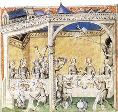 """Titre de l'enluminure : """"Un repas seigneurial"""". Tirée du manuscrit de Guillaume de Machaut, """"Le remède de Fortune"""". Réalisée à Paris, vers..."""