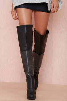 Jeffrey Campbell Elvira Leather Thigh High Boot i kinda love these Black Thigh High Boots, High Heel Boots, Knee Boots, Heeled Boots, Bootie Boots, Platform Boots, Ankle Booties, Black Boots, Winter Shoes