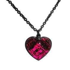 Pink Leopard Heart Necklace