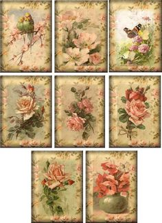 Vintage inspired Roses note cards tags ATC altered art set of 8 in Home & Garden, Greeting Cards & Party Supply, Greeting Cards & Invitations Vintage Tags, Vintage Labels, Vintage Ephemera, Vintage Postcards, Vintage Flowers, Vintage Prints, Style Vintage, Decoupage Vintage, Vintage Paper
