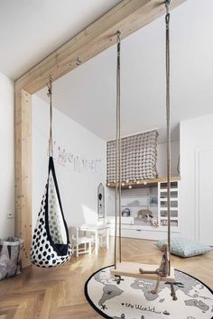 Modern children's room where the design of the bed makes the difference: 18 ideas - :Wohnen mit Kindern - Kids Playroom İdeas Swing Indoor, Indoor Jungle Gym, Kids Room Design, Playroom Design, Playroom Decor, Indoor Playroom, Baby Design, Small Playroom, Kids Bedroom Designs
