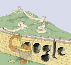 万里の長城に開いたGoogleという穴に、念入りにレンガを詰め直す中国の図  しかし、地平線の向こうまで伸びた万里の長城は両者の終わりなき堂々巡りを予感させる