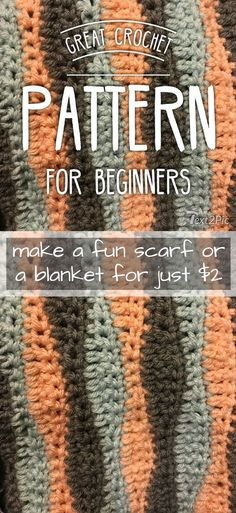 Simple, wavy crochet scarf or blanket pattern for beginners. Easy crochet project with an interesting wavy look. Only $2.00! #etsy #ad #pdf #crochet #pattern #blanket #scarf