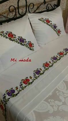 This Pin was discovered by Duy Embroidery Stitches, Embroidery Patterns, Hand Embroidery, Cross Stitch Patterns, Bed Cover Design, Simple Pakistani Dresses, Bed Covers, Home Textile, Bed Spreads
