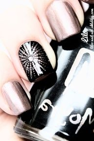 Evening Glitter - star-burst stamp design - black & pink/beige foil (think Orly Rage like)