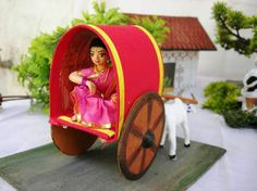 Lady Bullock Cart Doll Crafts, Diy Doll, Cute Crafts, Bullock Cart, Indian Baby Showers, Wedding Doll, Indian Dolls, Wedding Gifts For Bridesmaids, Wedding Crafts