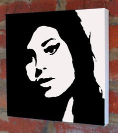 Amy Winehouse Portrait Hand Painted Stencil Art Canvas | eBay