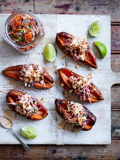 Sweet potatoes split with crunchy Mexican slaw – a great recipe for entertaining. This dish makes a delicious side option to any main.  www.hydroproduce.com.au