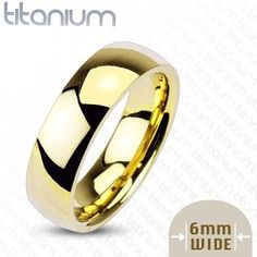 6mm Gold IP Titanium Plain Mirror Glassy Comfort Fit Wedding Band Ring; Comes With Free Gift Box