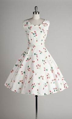 vintage 1950s dress white cotton dress with pink flowers