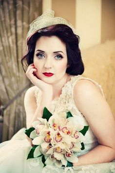 Retro-themed bridal hair and make up