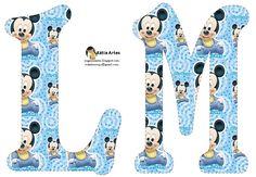 Festa Mickey Baby, Mickey Party, Minnie, Disney Fun, Baby Disney, Letras Baby Shower, Baby Shower Scrapbook, Alfabeto Disney, Mickey Baby Showers