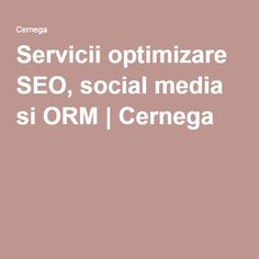 Servicii optimizare SEO, social media si ORM   Cernega