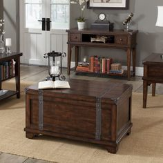 Save space in rustic style with the Aspen Rectangular Russet Brown Storage Trunk Coffee Table . This handsome multi-tasker is a coffee table and storage. Garden Coffee Table, Lift Top Coffee Table, Cool Coffee Tables, Coffee Table With Storage, Decorative Trunks, Decorative Storage, Storage Trunk, Storage Chest, Industrial Furniture