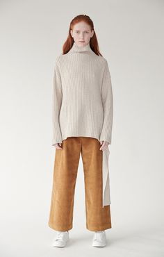 02bb620dde9cf7 Ribbed pullover with side tie - oatmeal  low stock
