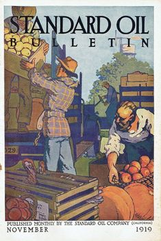 Standard Oil Bulletin, November Art by Harold Von Schmidt Standard Oil, Schmidt, November, Baseball Cards, Magazine Covers, Painting, California, Art, November Born