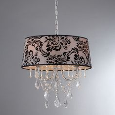 @Overstock.com - Eris Crystal Chrome 4-light Chandelier - An intricate pattern and cascading crystals adorn this dazzling four-light chandelier by Eris. The floral fabric shade will add sophistication and style to any room in your home, and the crystals will reflect light and create a shimmering effect.  http://www.overstock.com/Home-Garden/Eris-Crystal-Chrome-4-light-Chandelier/8089909/product.html?CID=214117 $169.99