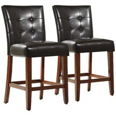 Counter Height Parsons Chair in Black Faux Leather Set