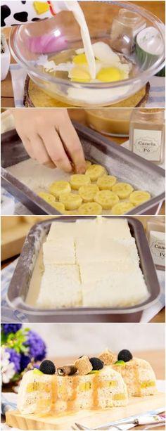 Torta de banana com doce de leite combinação perfeita!  #sobremesa #doce #banana #receita #gastronomia #culinaria #comida #delicia #receitafacil