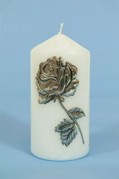 Classic Pillar candle with hand crafted Sandy Griffiths rose..http://annmack.co.za/store/products/candle-pewter-rose/