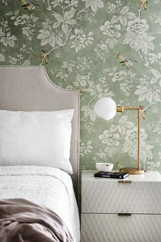 Shop Staggered Glass Table Lamp + USB, Audrey Nightstand - Parchment, Belgian Linen Euro Sham, White and Casadeco Wallpaper, Bedroom With Wallpaper, Chinoiserie Wallpaper, Wallpaper Patterns, Wallpaper Ideas, Sophisticated Teen Bedroom, Natural Bedroom, Side Tables Bedroom, Home Decor Bedroom