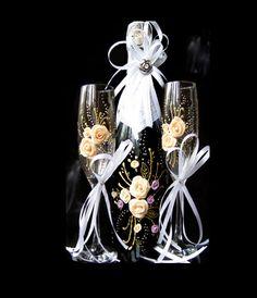 Свадебные бокалы.Свадебное шампанское. Свадебные фужеры. Лепка . Роспись.Кремовый.Сиреневый