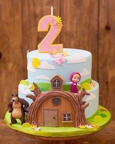 Masha et Mishka birthday party 2nd Birthday Party Themes, Baby Birthday Cakes, Bear Birthday, Birthday Party Decorations, Masha Cake, Masha Et Mishka, Marsha And The Bear, Bear Party, Bear Cakes
