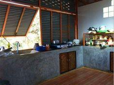 19 Ideas Small Patio Spaces Outdoor Kitchens For 2019 Thai House, Kitchen Interior, Kitchen Design, Kitchen Decor, Style At Home, Small Patio Spaces, Bamboo House, Concrete Kitchen, Small House Design