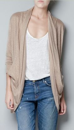 {long sleeve loose cardigan} w/ sheer insert in back