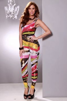 WHITE MULTI STRIPE SCOOP NECK STRAPPY ELASTIC BAND BACK SEXY JUMPSUIT OUTFIT