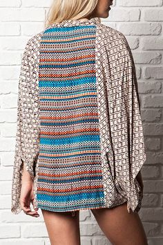 Color Coil Kimono :: $29.99 :: colorful back overlay, tribal print shrug, oversized shrug :: www.ShopGroovys.com