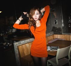 Orange Long Sleeves Wrinkled Round Neck Asian Fashion Sexy Fitted Dress - $56.88 Korean Fashion Summer, Asian Fashion, Mini Dresses, Summer Dresses, Asian Woman, Orange Color, High Neck Dress, Girly, Long Sleeve