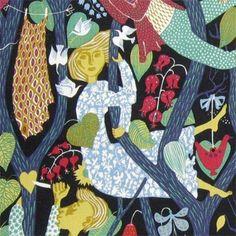 Stig Lindberg swedish textiles, vintage swedish fabric, mid century fabric Fibercopia