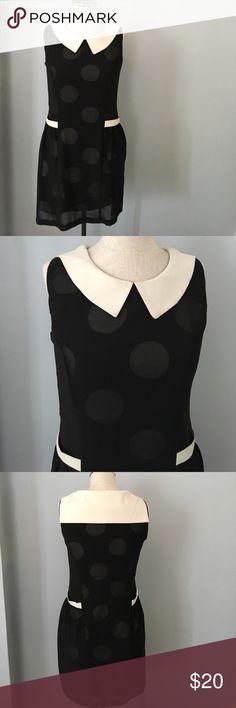 Adorable polka dot layered dress Sleeveless black and cream polka dot dress Esley Dresses