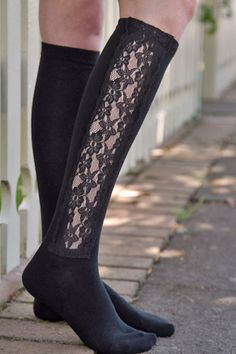 Lace Panel Knee High