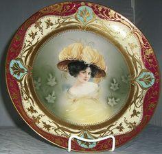 art museum portrait plates   ... ) portrait plate with hand painted Art Nouveau gilt borde, 1900/ link