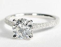 Petite Cathedral Pav Diamond Engagement Ring in 14k White Gold #BlueNile
