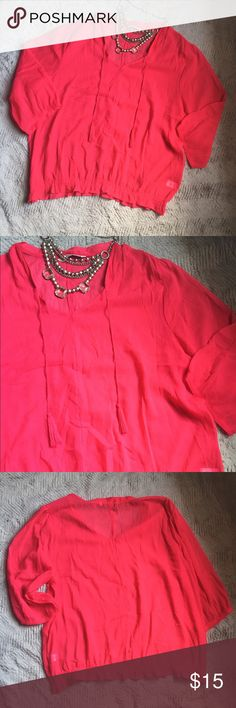 Bright Pink gauzy Sheer Shirt Perfect Condition bright pink shirt with tassel details. Old Navy Tops Blouses