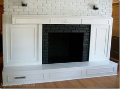 Brick Fireplace Makeover  ::  Before is similar to our fireplace.  Good Ideas for our makeover.