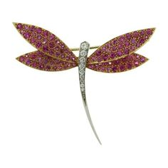 Pre-owned Van Cleef & Arpels 18K Yellow and White Gold Diamond Pink... ($15,645) ❤ liked on Polyvore featuring jewelry, brooches, gold dragonfly jewelry, gold diamond jewelry, diamond jewelry, gold jewelry and van cleef arpels jewelry