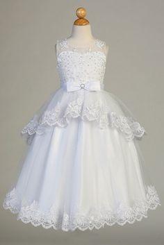 022458f46a4 Swea Pea   Lilli SP640 White Lace Overlay Tulle Illusion Neckline Cap  Sleeve Dress